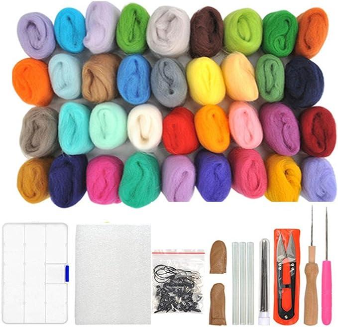 WOWOSS Lana de Fieltro 36 Colores Conjunto de Fieltro de Lana Fieltro Herramienta de Lana, Lana Agujas de Fieltro Kits para Niños y Familias Principiantes de Bricolaje: Amazon.es: Hogar