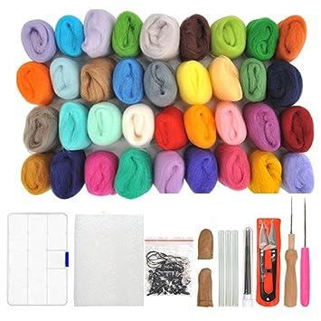 WOWOSS Lana de Fieltro 36 Colores Conjunto de Fieltro de Lana Fieltro Herramienta de Lana, Lana Agujas de Fieltro kits para Niños y Familias Principiantes ...