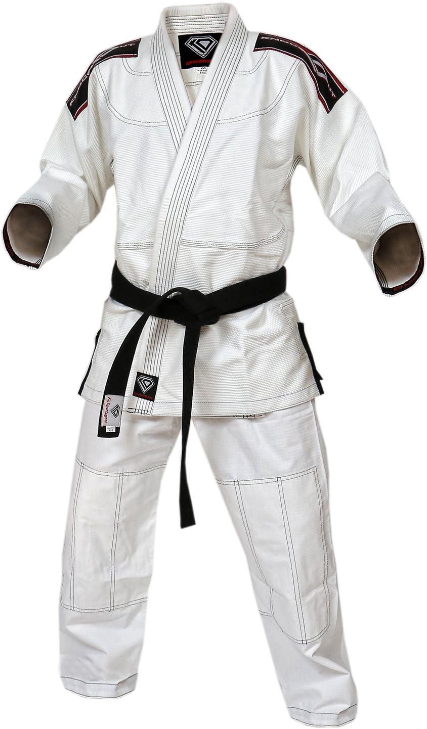ホワイトGI Uniform Set by KOスポーツギア – 100 %コットンパール織りGI – Kompetitionシリーズ – BJJ Jiu Jitsu着物とパンツ ホワイト A0