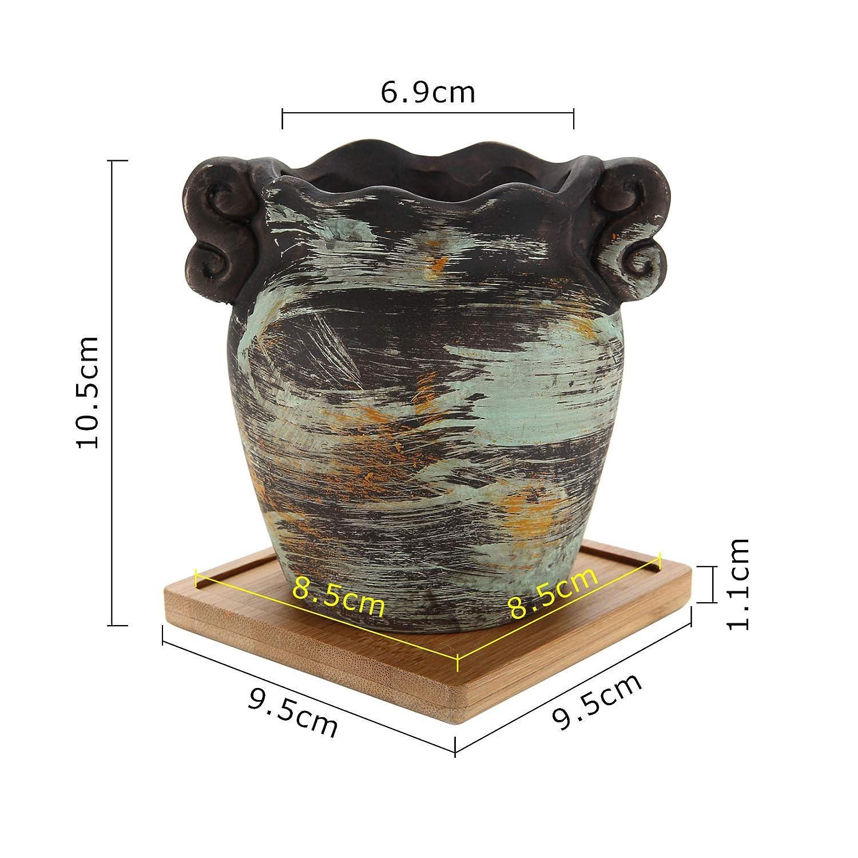 Maceteros Peque/ños para Suculento Plantas Casa y Jardin Boda Decorativos Interior T4U 8.5CM Macetas para Cactus de Ceramica con Plato de Bamb/ú