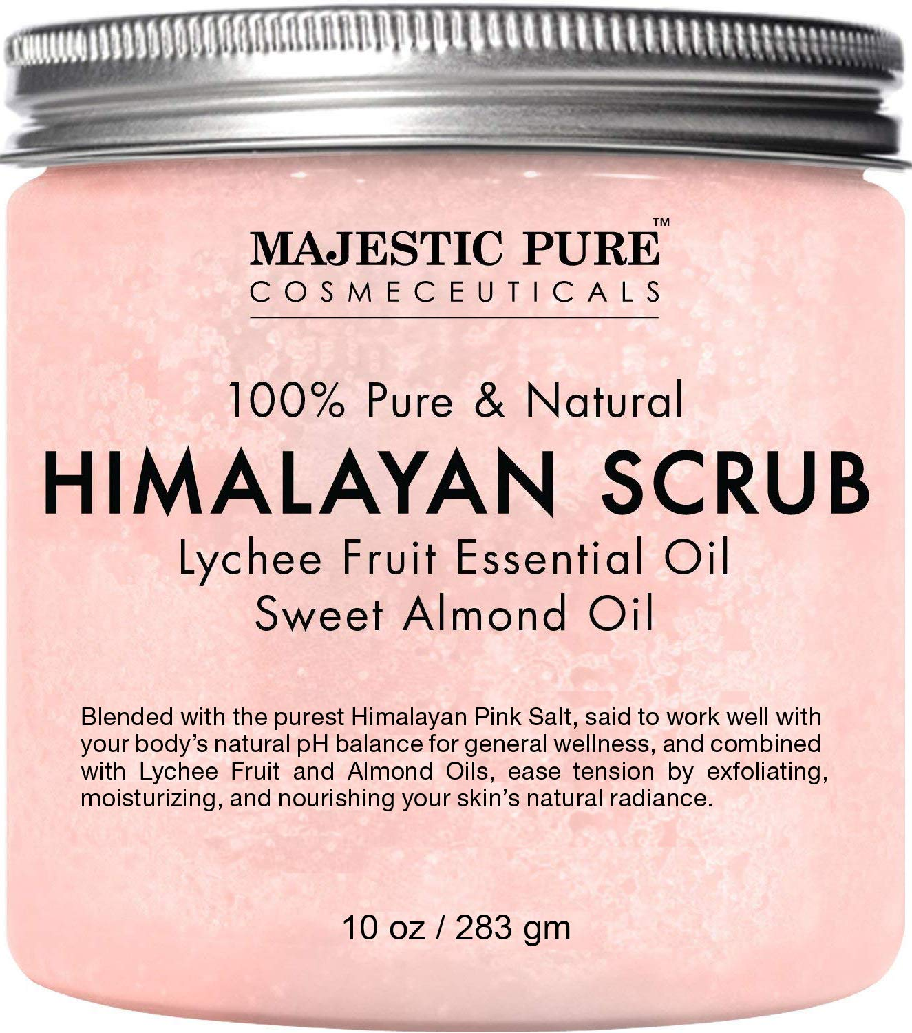 Majestic Pure Himalayan Salt Body Scrub with Lychee Essential Oil, All Natural Scrub to Exfoliate & Moisturize Skin, 10 oz