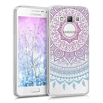 kwmobile Funda para Samsung Galaxy A3 (2015) - Carcasa de [TPU] para móvil y diseño de Sol hindú en [Azul/Rosa Fucsia/Transparente]
