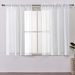 DWCN Sheer Curtains Linen Look Rod Pocket Kitchen Curtains White Voile Sheer Window Curtain Panels,Set of 2 Panels,52 x 54 inches Long