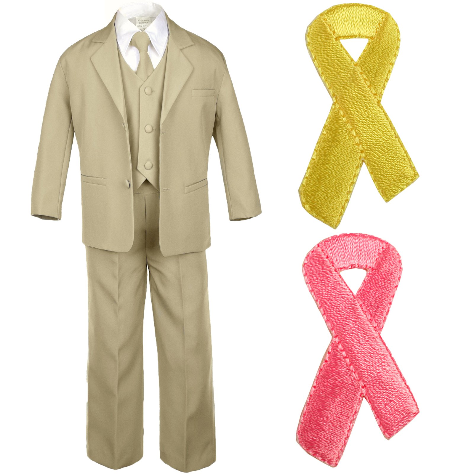 5pc Baby Boy Teen KHAKI SUIT w/ Cancer Awareness Ribbon Adhesive LOVE HOPE Patch (4T, 5pc Khaki suit set Only)