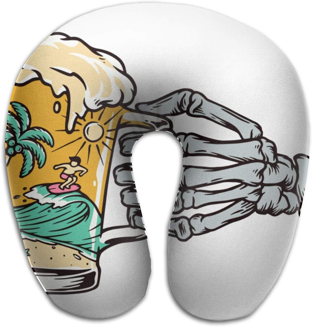 Almohada de viaje en forma de U Jarra de cerveza con mano de esqueleto Playa Surfer Tree Adultos Estudiantes Almohada Travell transpirable en forma de U Almohada de apoyo para el cuello y la cabeza l
