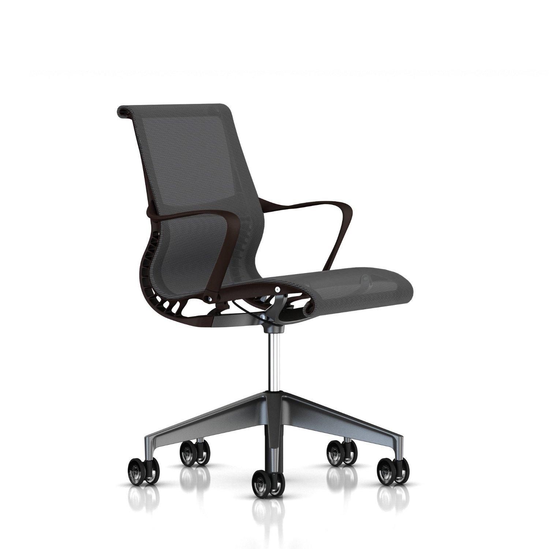 Herman Miller Setu Chair: Ribbon Arms - Translucent Casters - Java Frame-Graphite Base-Alpine Lyris