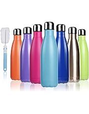 BOGI 17oz Aislado Botella de Agua Doble Pared vacío Botella a Prueba de Fugas de Acero Inoxidable Mantiene Caliente y frío Bebidas para Deportes al Aire Libre Camping + 1 un Cepillo de Limpieza
