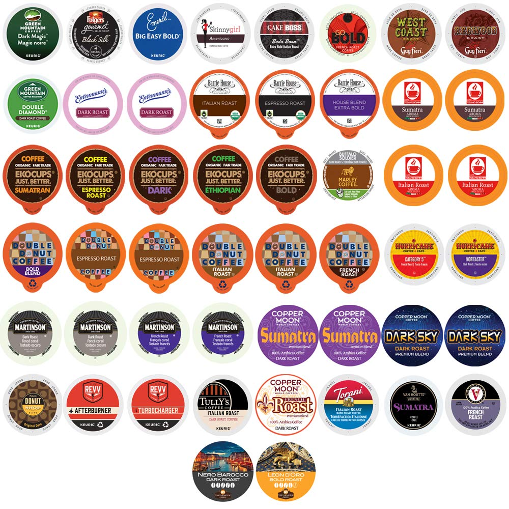 Dark Roast Coffee Bulk Variety Pack - Strong & Bold Flavors in a Variety of Roasts and Styles From the Top Brands for Keurig K Cup Coffee Makers Bulk Size 50 Pack