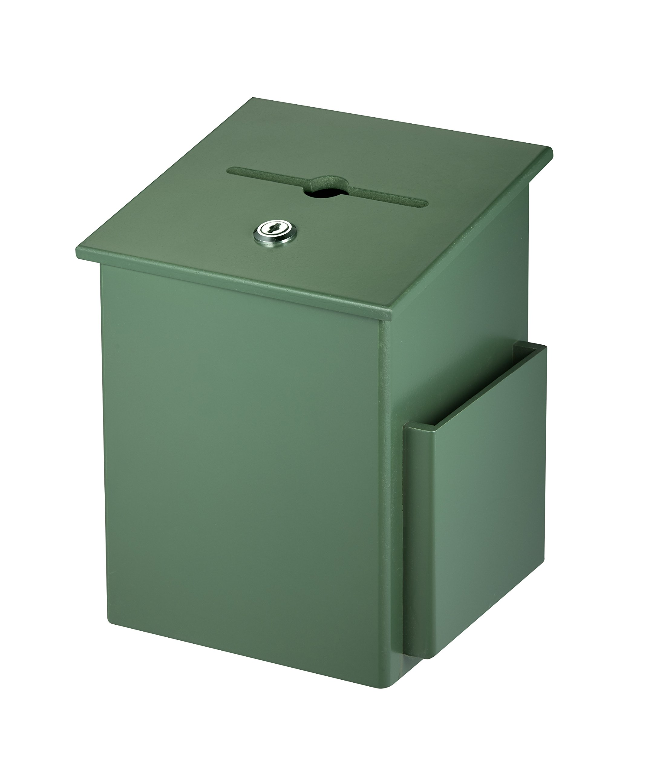 AdirOffice Square Wood Suggestion Box - Wall Mountable - with Lock & Chained Pen - Donation, Collection, Ballot, Key Drop, (Green)