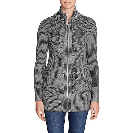 Eddie Bauer Women's Mount Shasta Long Cable Cardigan Sweater at ...