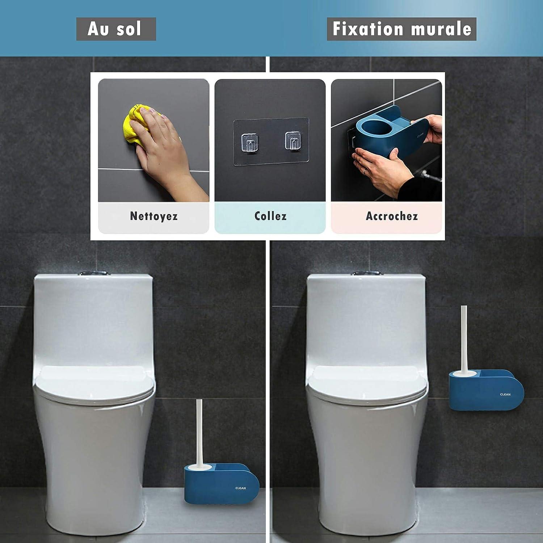 BAZAARISTA Brosse de Toilette Silicone et Compartiment de Rangement 2 en 1 avec 2 x L/ève Abattant WC et Un Plat en Terre de Diatom/ée Lot/de 5 Pi/èces