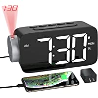 YISSVIC Projection Alarm Clock Radio Digital Alarm Clocks for Bedrooms 6.3″ Screen Led Clock with USB Charger 4 Dimmer 12/24 Hour Switch 180° Rotation Projection on Ceiling Wall