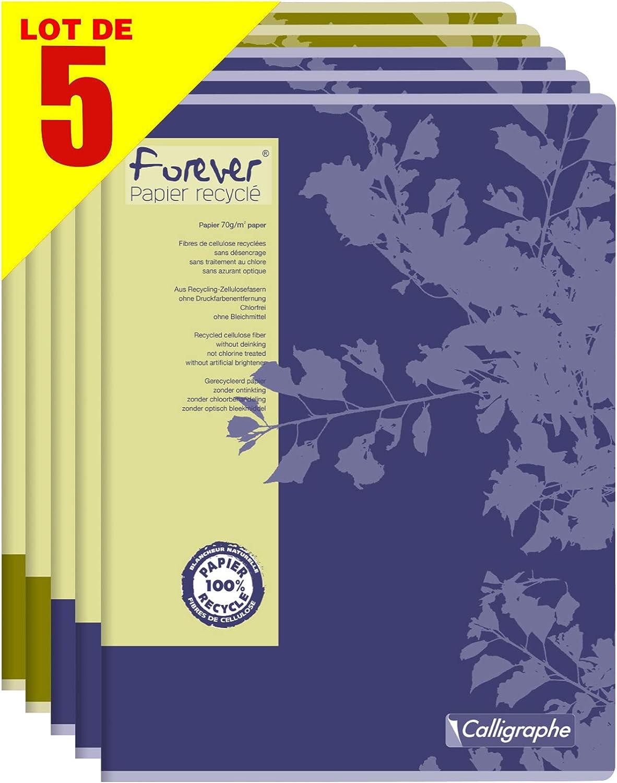 Forever by Clairefontaine 17493AMZC – Lote de 5 cuadernos de piqué, 100% reciclado, 96 páginas, 24 x 32 cm, cuadros grandes 70 g, cubiertas de tarjeta reciclada, colores surtidos al azar