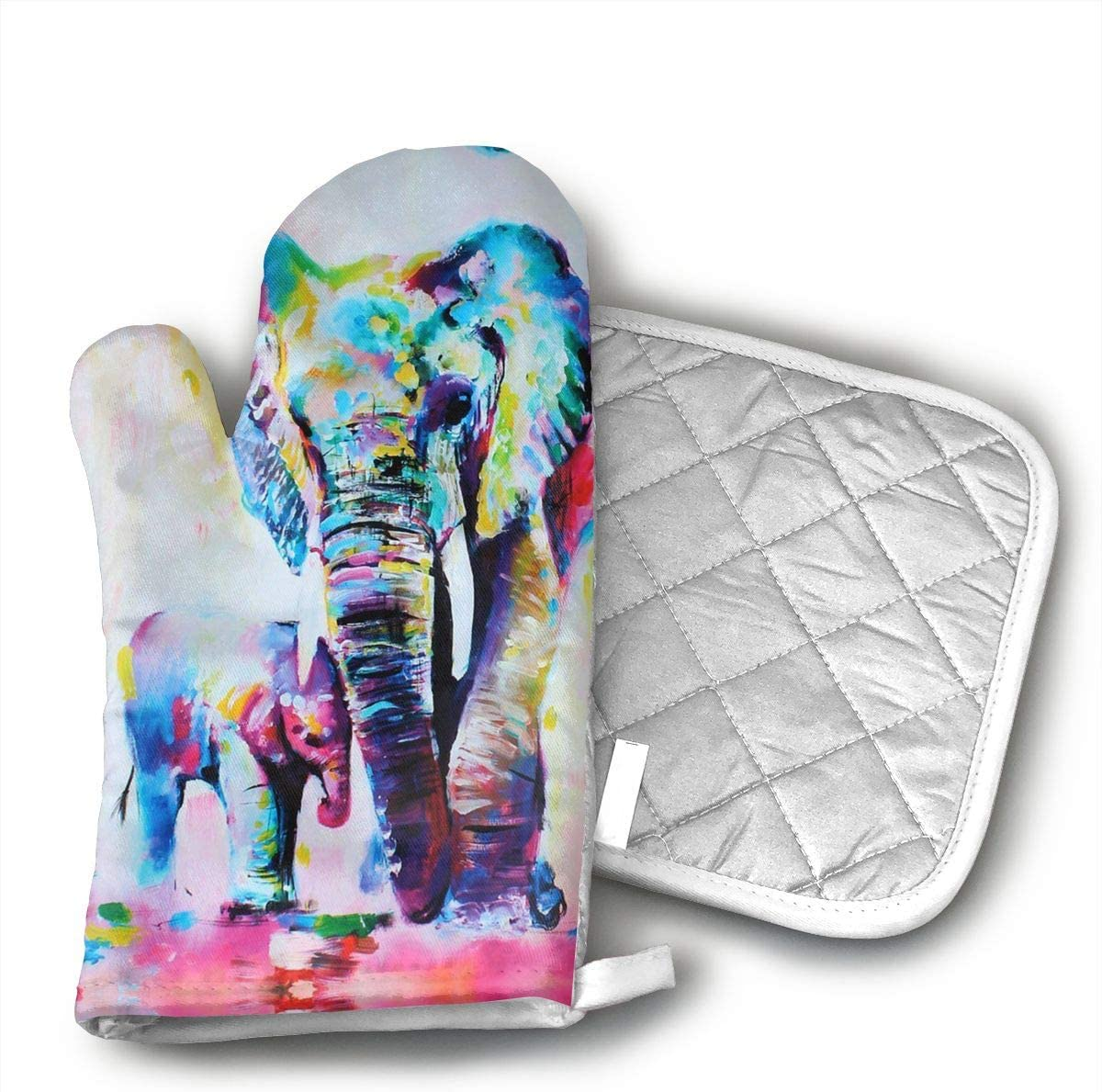 Ubnz17X Elephant Oven Mitts and Pot Holders for Kitchen Set with Cotton Non-Slip Grip,Heat Resistant