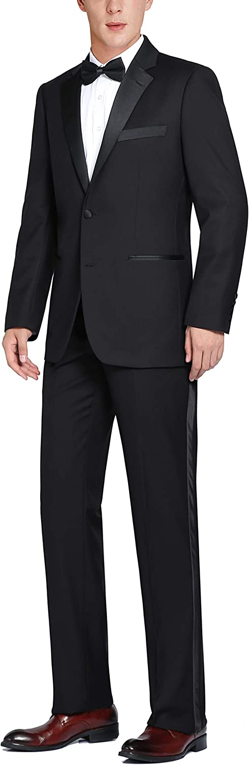 CHAMA Men's Black Single Breasted Two Button Satin Notched Lapel Classic Fit Tuxedo Suit