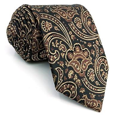 shlax&wing único Marrón Negro Corbatas Para Hombre Seda Traje de ...