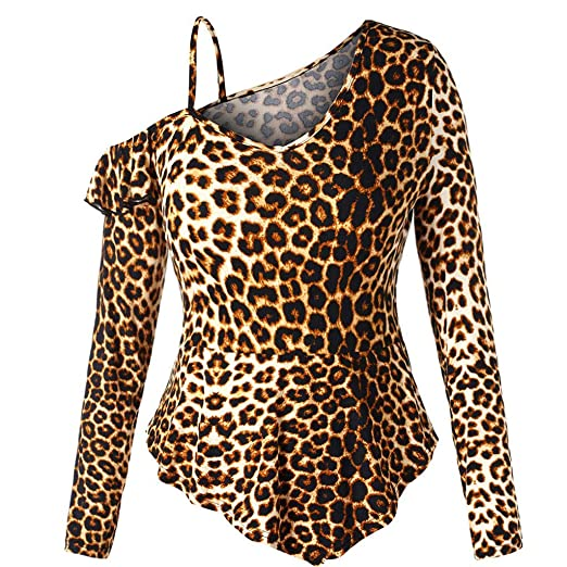 3f3056135f3f3 Gooldu Women Long Sleeve Sexy Leopard Print Off-Shoulder Top Ruffled  Irregular Blouse Shirt at Amazon Women s Clothing store