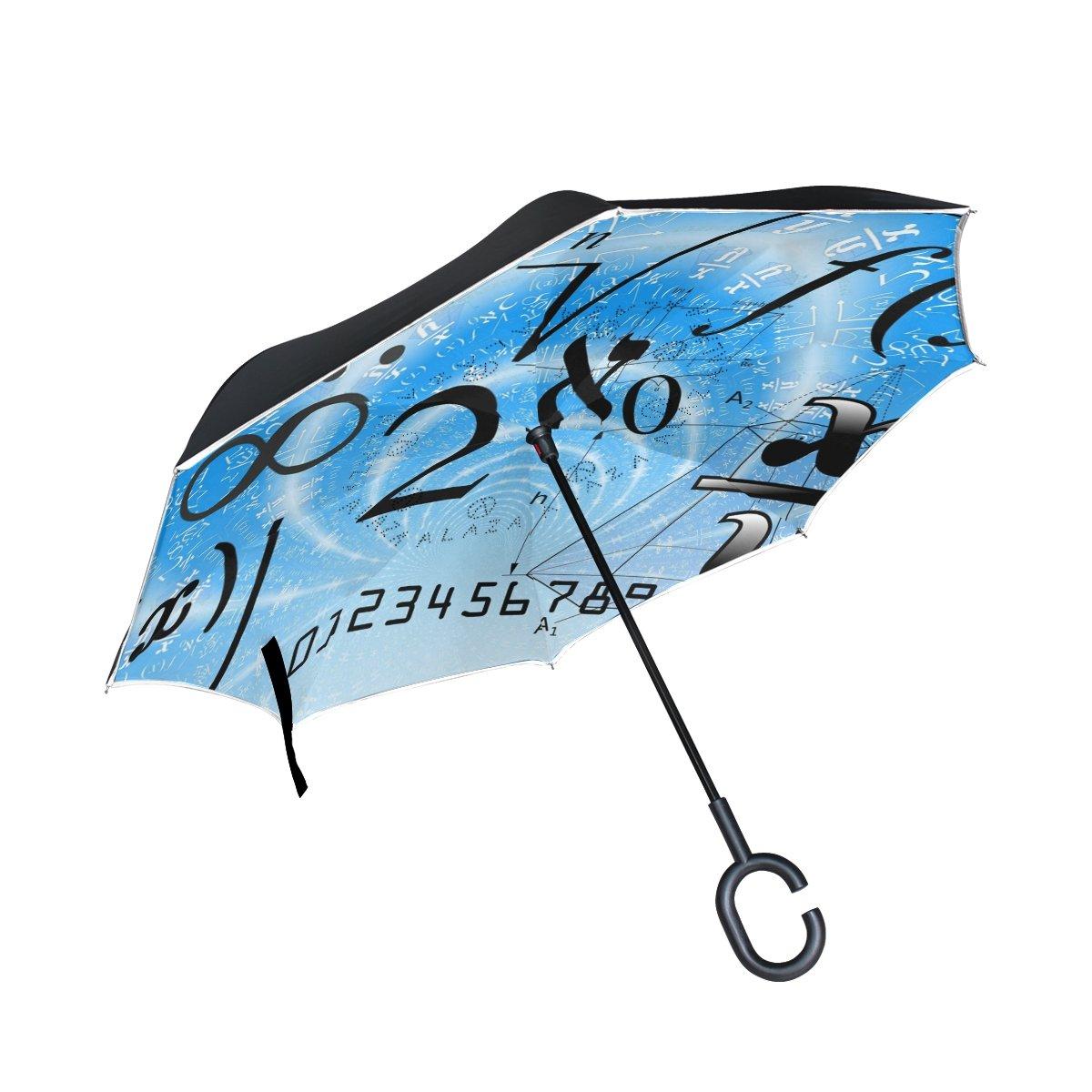 BENNIGIRY Math Education - Paraguas invertido, doble capa, plegable, resistente al viento, protección UV, con mango en forma de C para mujeres y hombres, Multi#001, talla única