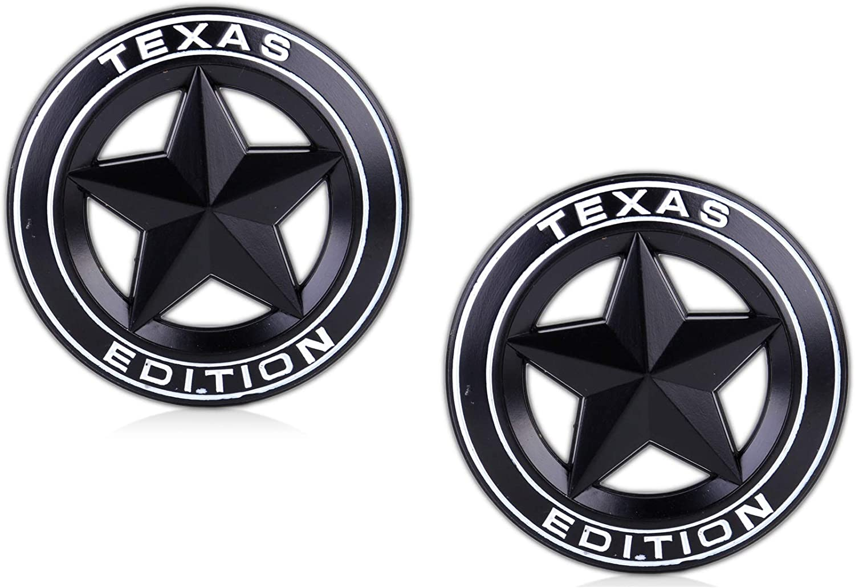 2pcs Metal Chrome Texas Edition Star Flag Emblem Badge Decal Sticker Jeep Chevy
