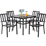 """JY QAQA 5-Piece Outdoor Patio Dining Set 4 Stack Chairs and Rectangle Table with 1.57"""" Umbrella Hole, All Weather Metal Furni"""