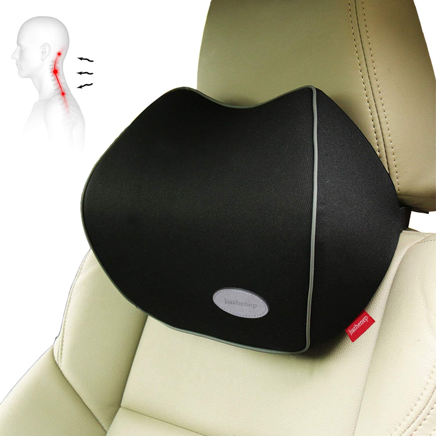 Headrest Pillow 100/% Pure Memory Foam and Washable Cover. Jiazhenep Car Neck Support Pillow for Neck Pain Relief When Driving Black