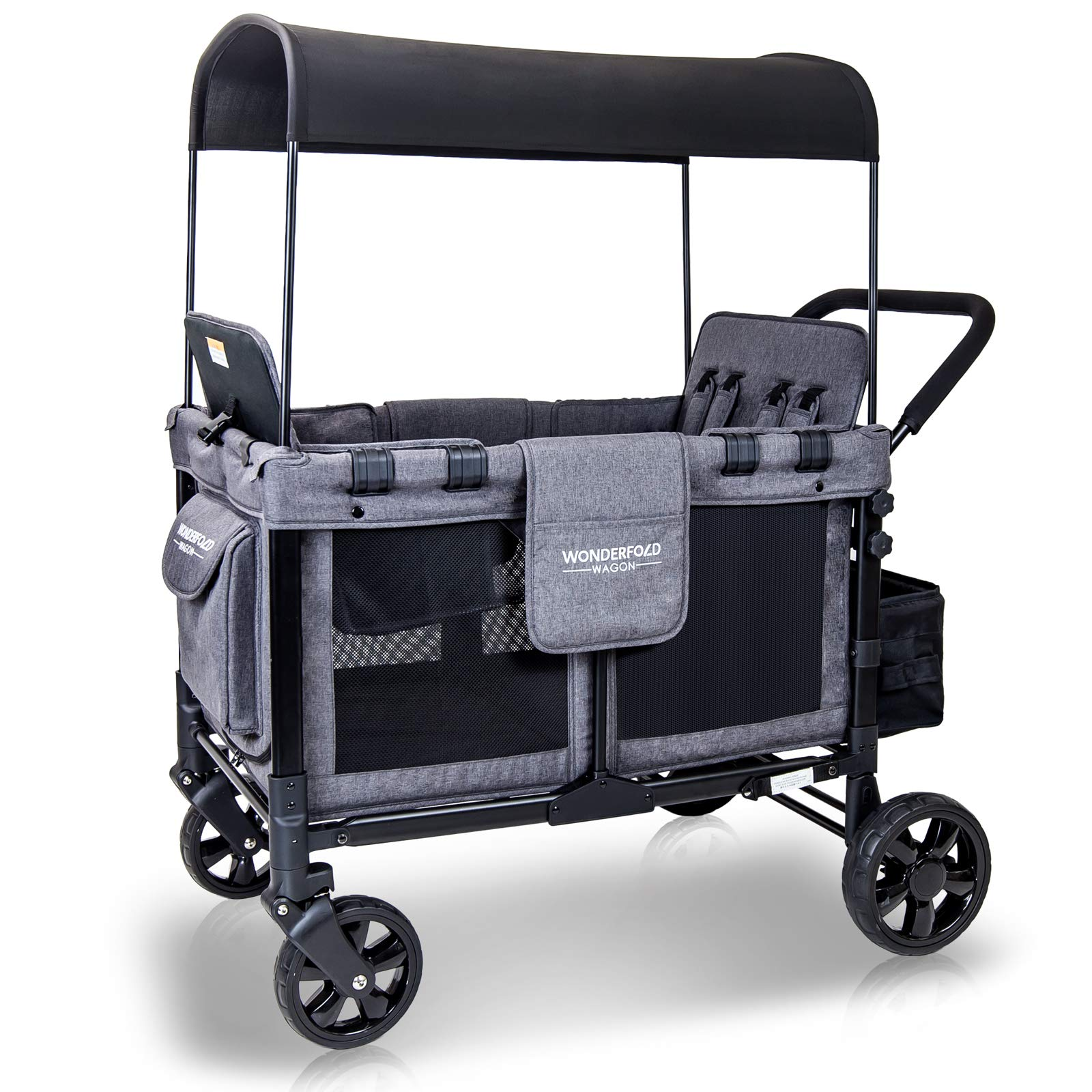 WonderFold Baby Multi-Function Four Passenger Wagon Folding Quad Stroller with Removable Reversible Canopy & Seats Up to 4 Toddlers (Gray/Black) by WonderFold