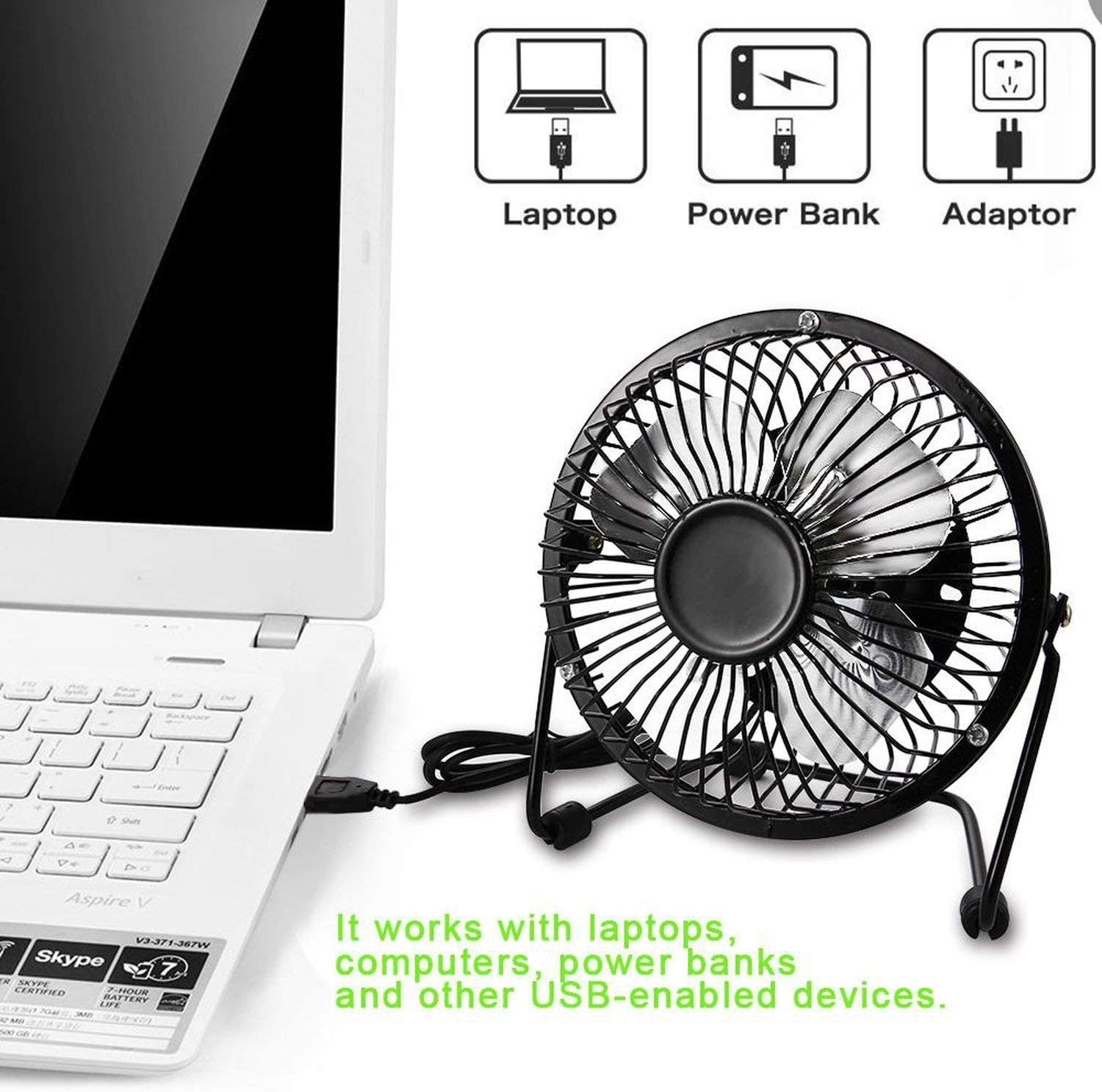 Small Oranges Mini USB Table Desk Fan USB-Powered Desktop Fan Portable Cooling Solution Quiet for Home Office Car Travel 40,Black