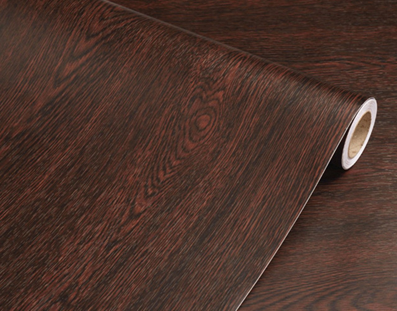 BESTERY Adhesive Wood Grain Contact Paper Peel and Stick Furniture Stickers Wallpaper Cabinets Wardrobe Contact Paper,15.8inch by 98in (Dark Brown)