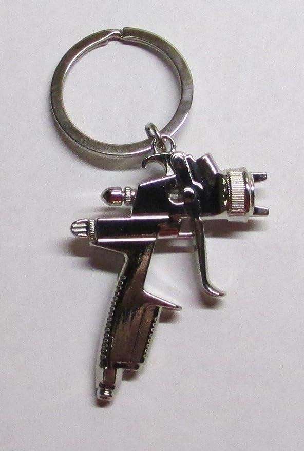 Spray Gun Keychain Car Paint Job Painter Keyring Key Chain Ring Auto Paint Shop