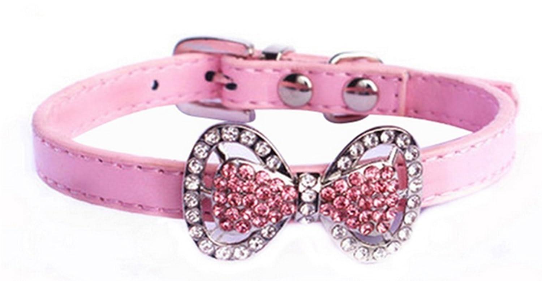 Bling Strass Diamante Bellissimo Cane Gatto Collare Collana Gioielli Femmina Cuccioli Chihuahua Yorkie Ragazza Costume Outfits 2 Formati 5 Colori (XS rosa) WN