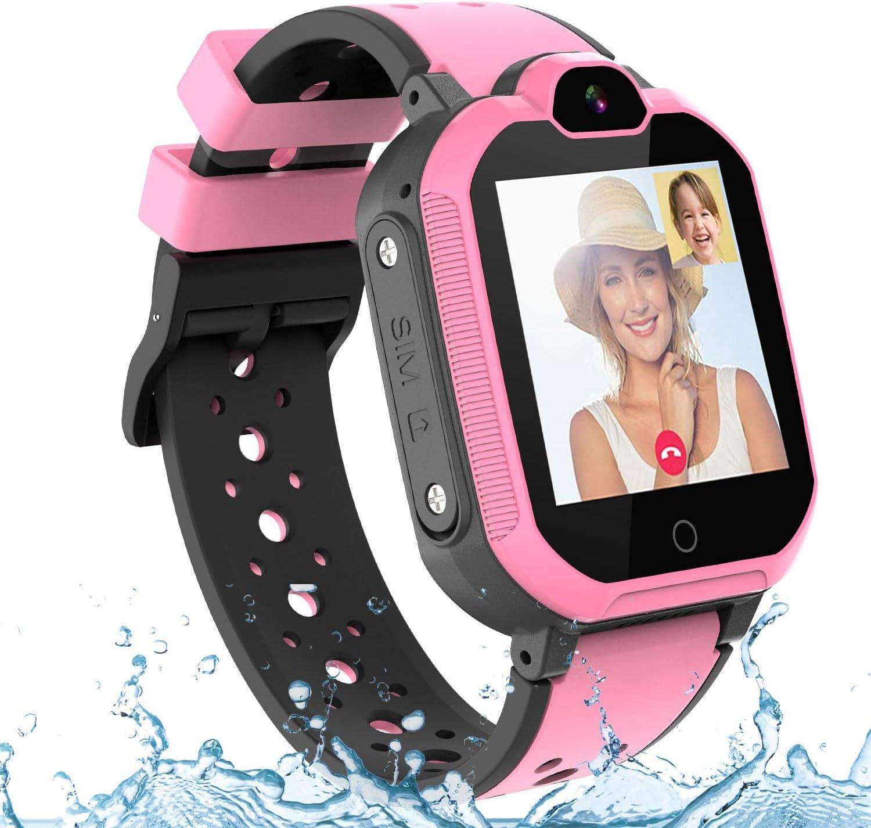 PTHTECHUS 4G GPS Niños Smartwatch Phone, niños y niña Teléfono Reloj Inteligente con SOS 2 vías Chat de Voz y Video Alarma Podómetro WiFi Cámara Inteligente Watch (Rosa)
