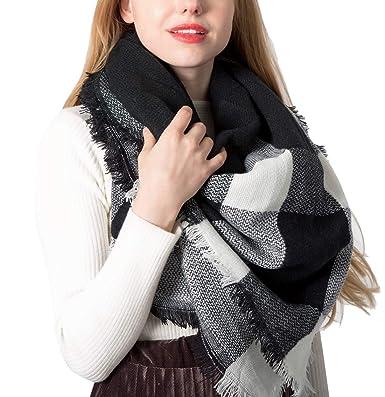 Yidarton Écharpe Chale Femme Cachemire Chaud Automne Hiver Grand Plaid  Tissu Glands Foulard (Blanc Noir 21c0531d3bb