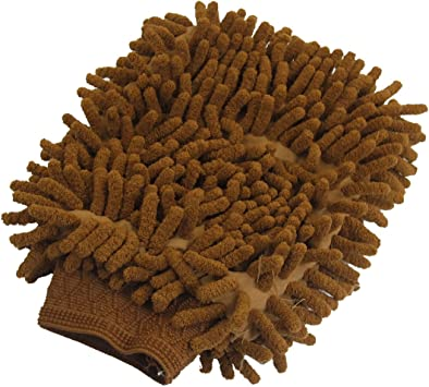 2 Pcs Double Sided Auto Car Chenille Microfiber Wash Mitt Cleaning Gloves Brown