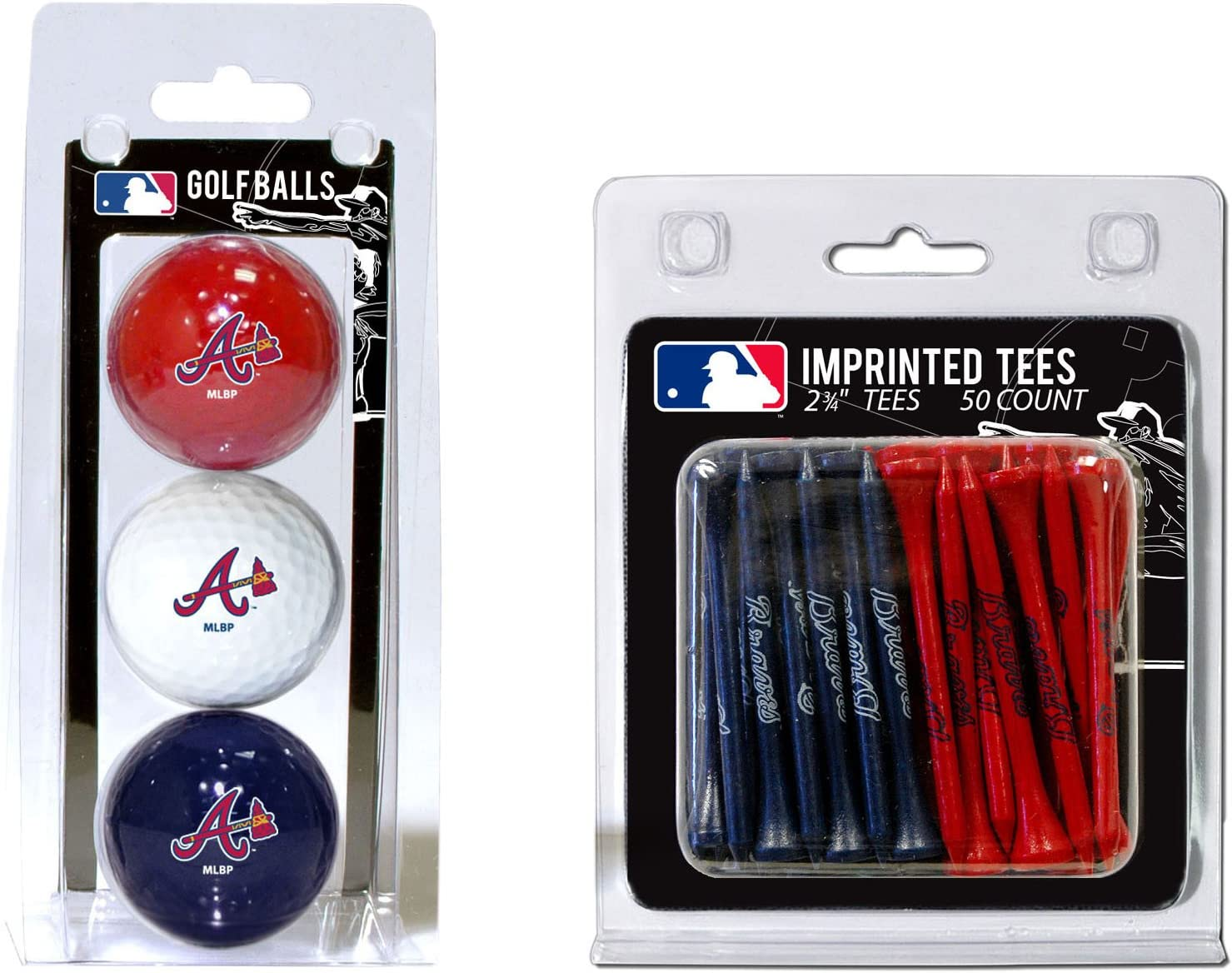 "Team Golf MLB Atlanta Braves Logo Imprinted Golf Balls (3 Count) & 2-3/4"" Regulation Golf Tees (50 Count), Multi Colored : Sports Fan Golf Balls : Sports & Outdoors"