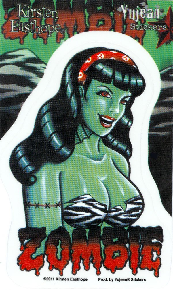 Kirsten Easthope - 50's Undead Pinup PIN-UP Girl etiqueta Sticker - 3.5 x 5' - Weather Resistant, Long Lasting for Any Surface