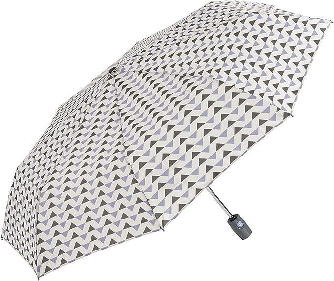 GOTTA Paraguas Plegable antiviento de Mujer. Paraguas compracto con Abre-Cierra automático. Estampado geométrico. - Malva-Gris: Amazon.es: Equipaje