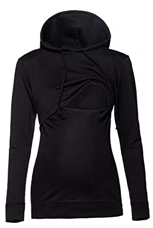 406a63edf2b83 Womens Nursing Hoodie Breastfeeding Sweatshirt Top Maternity. 272p (Black,  US