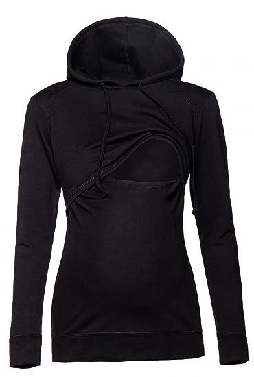 Happy Mama. Womens Nursing Hoodie Breastfeeding Sweatshirt Top Maternity.  272p (Black, US 1d47b2bfc8