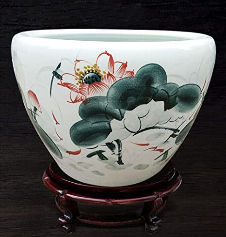 j-beauty asiático chino tradicional cerámica maceta porcelana pintado a mano Loto pecera