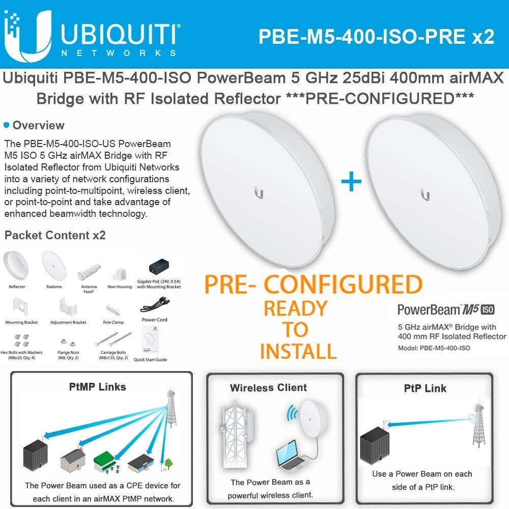 Ubiquiti PowerBeam M5 PBE-M5-400-ISO PRECONFIGURED 25dBi 5GHz AirMAX 400mm-2PACK by Ubiquiti Networks