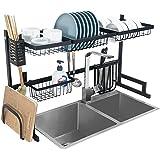 LBR Escurridor De Trastes Ajustable para Cocina 85 cm A 100 cm Organizador Multifuncional de 2 Niveles de Acero Inoxidable
