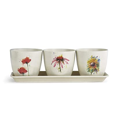 DEMDACO Dean Crouser Poppy Echinacea Sunflower Floral Watercolor On White 11 x 4 Bamboo Composite Standing Planter Set of 3 : Garden & Outdoor