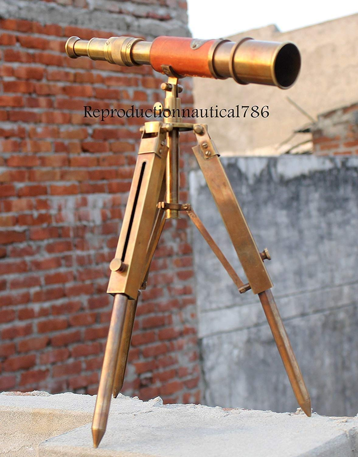 Arsh Nautical Brass Antique Marine Collectibles Navy Leather Telescope with Tripod Stand