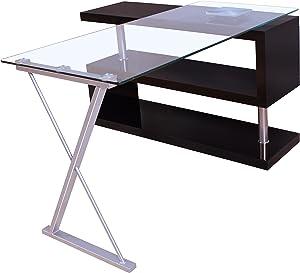 Acme Buck Office Desk, Clear Glass & Black