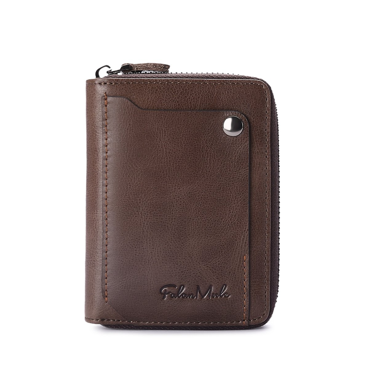 Slim Bifold RFID Blocking Men Wallet Leather Front Pocket Compact Design Zipper Closure Minimalist by Falan Mule (Image #2)