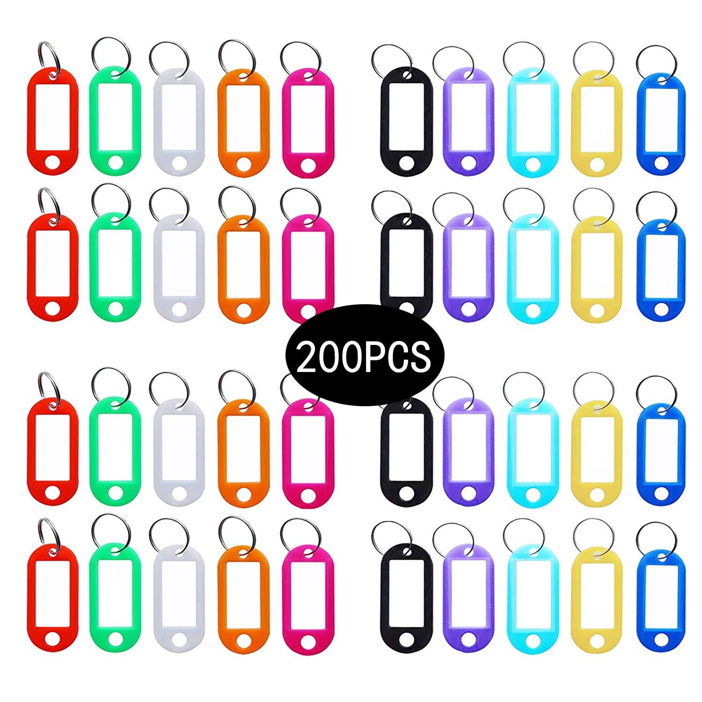 Amazon com : 200 PCS Multi-Colors Plastic Keychain Tags, Key