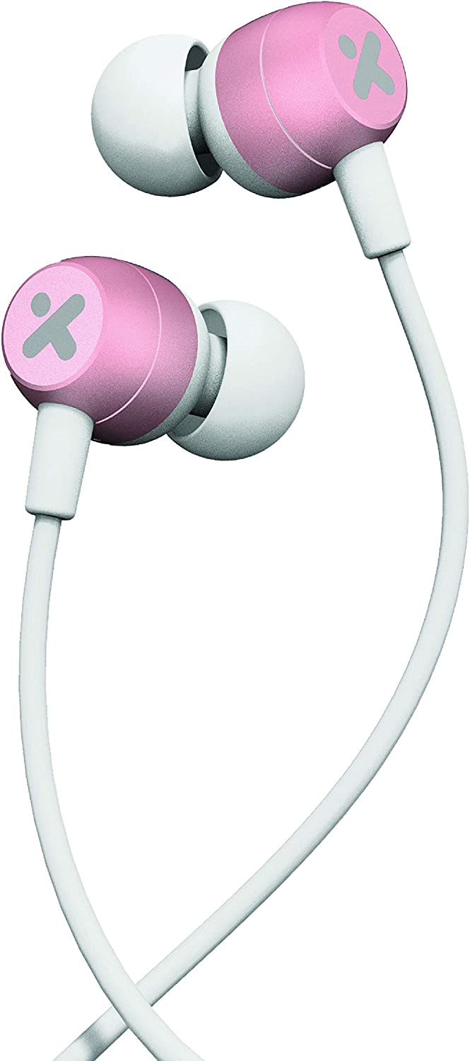 X-Mini NOVA Comfort Fit in Ear Earbud Headphones w Dynamic Driver Crystal Clear Sound, Ergonomic Design with Remote Control and Microphone for iPhones, Samsung, Android Phone and More (White/Pink)
