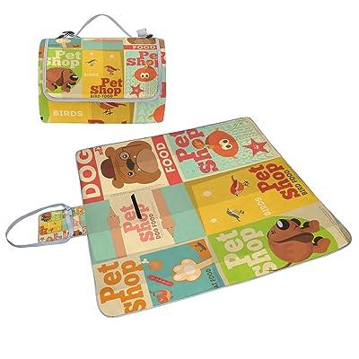 COOSUN Pet Shop Motif chien Couverture de pique-nique Sac pratique Tapis résistant aux moisissures et étanche Tapis de camping pour les pique-niques, les plages, randonnée, Voyage, Rving et sorties