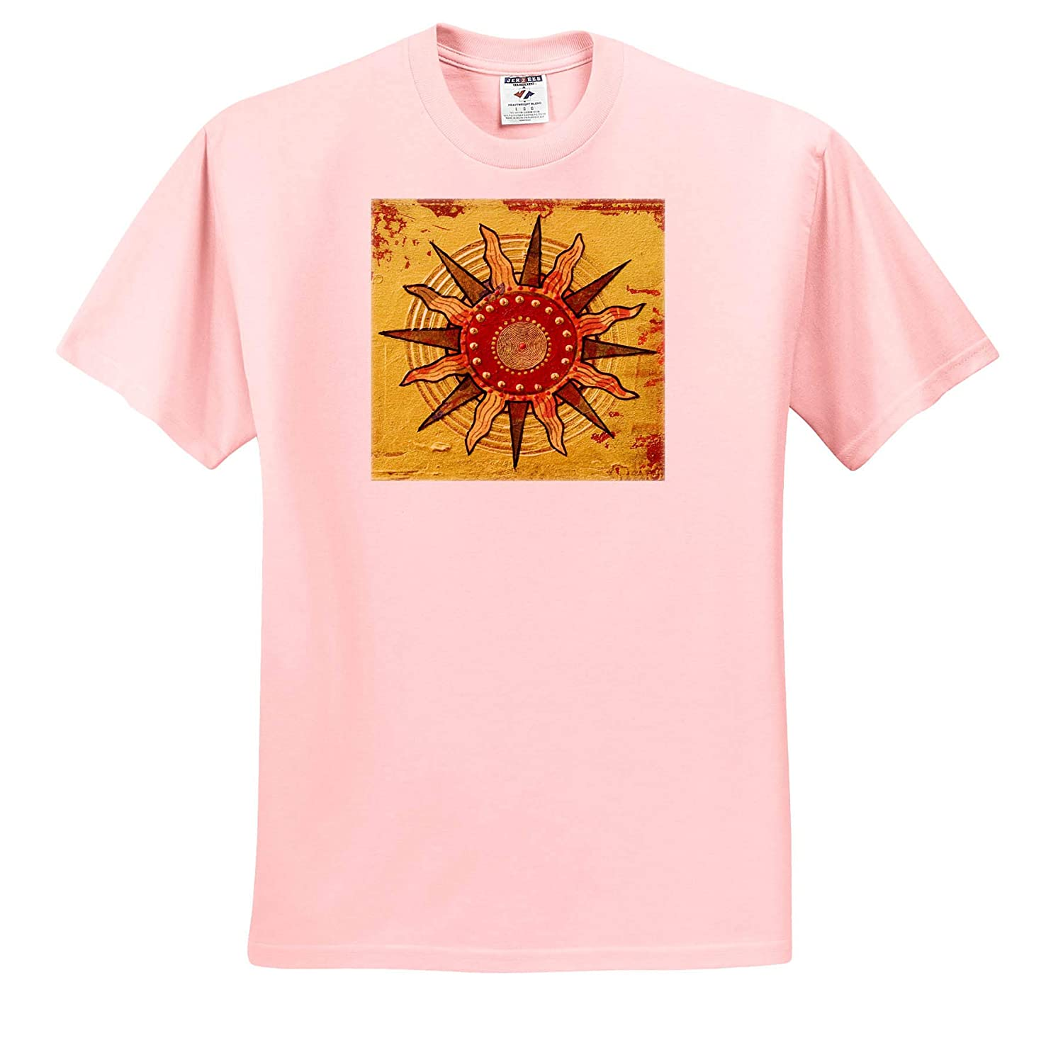 T-Shirts Mixed Media Collage Art Painting with Abstract Sun Ornament 3dRose Andrea Haase Art Illustration