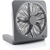 """O2COOL Treva NEW 10"""" Battery Operated Fan with Adapter, Graphite"""